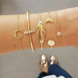 Feather & crescent moon 5 piece gold bracelet set